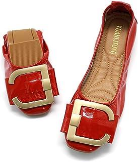 CYBLING Women's Foldable Ballet Flats Slip On Square Toe Dress Shoes Pull Tab Comfort Ballerina Shoes