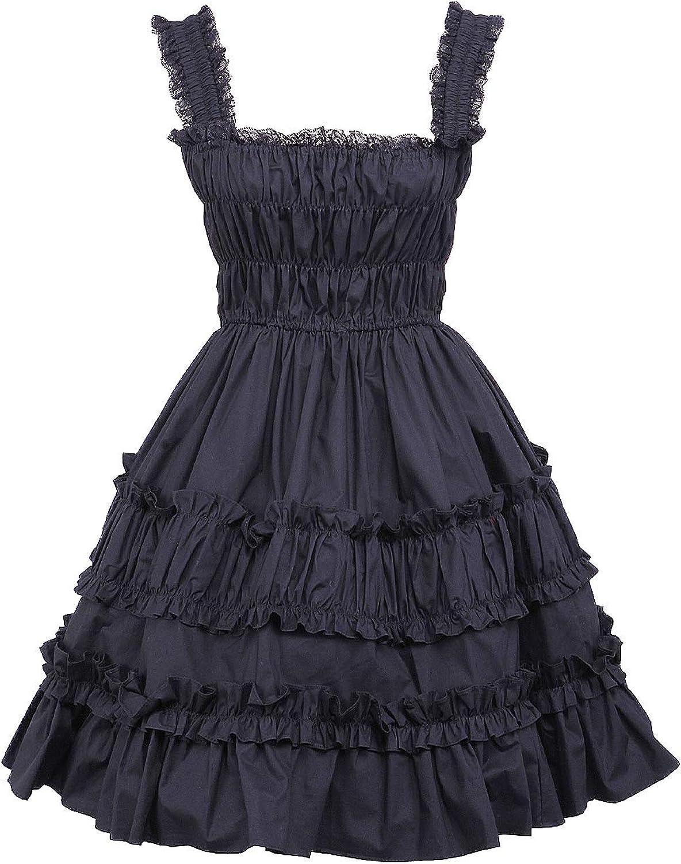 Antaina Black Cotton Ruffle Lace Retro Gothic Punk Halter Lolita Cosplay Dress
