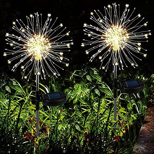 Joycome Solarstecker Gartenleuchten 2 Stück Solar Feuerwerk Lichter 120 LED Gartenstecker Solarlicht Wasserdicht Solarlampen für Außen Garten Terrasse Balkon Rasen Hinterhöfe Weg Deko (Warmweiß)