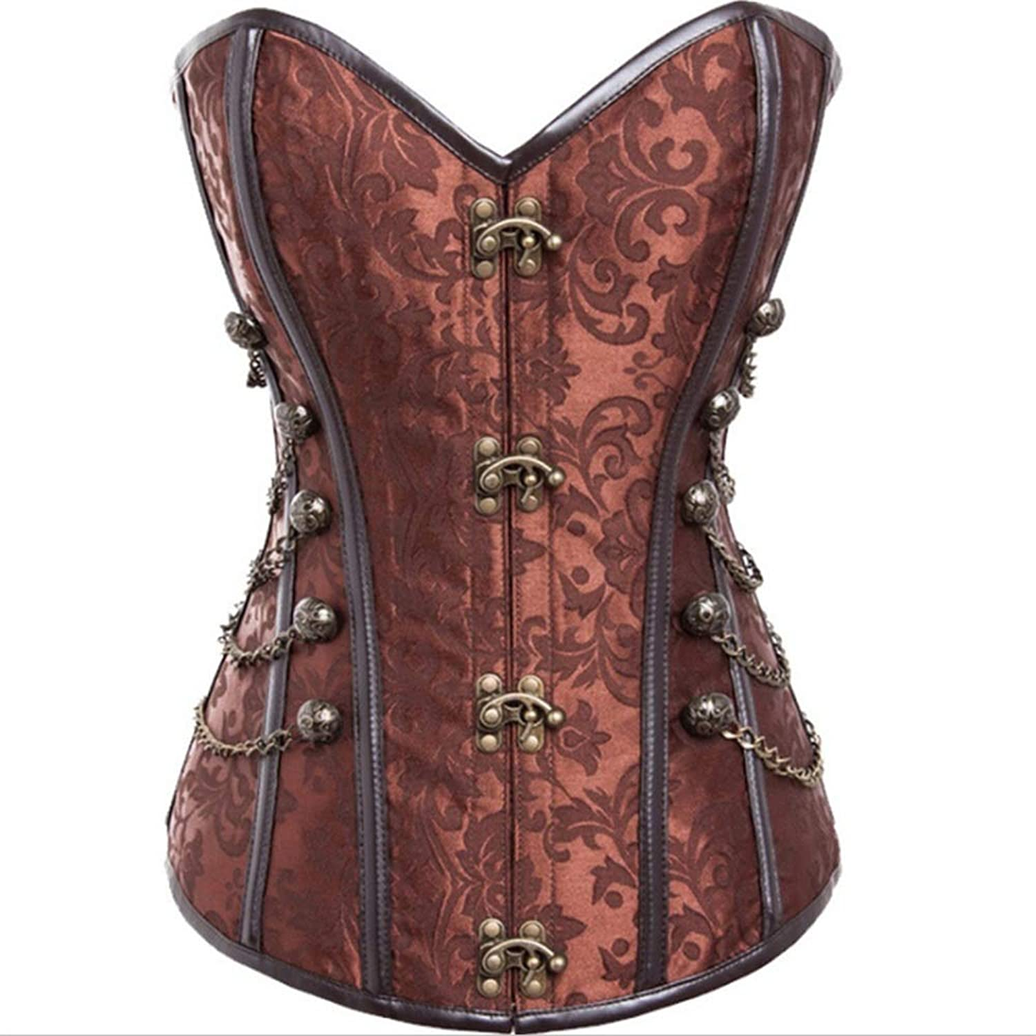 Waist Training Corset Women's Steampunk Corset Faux Leather Buckle Up Front Brown Corset Women Slimming Tummy Tank Top (color   Brown, Size   XXXXL)