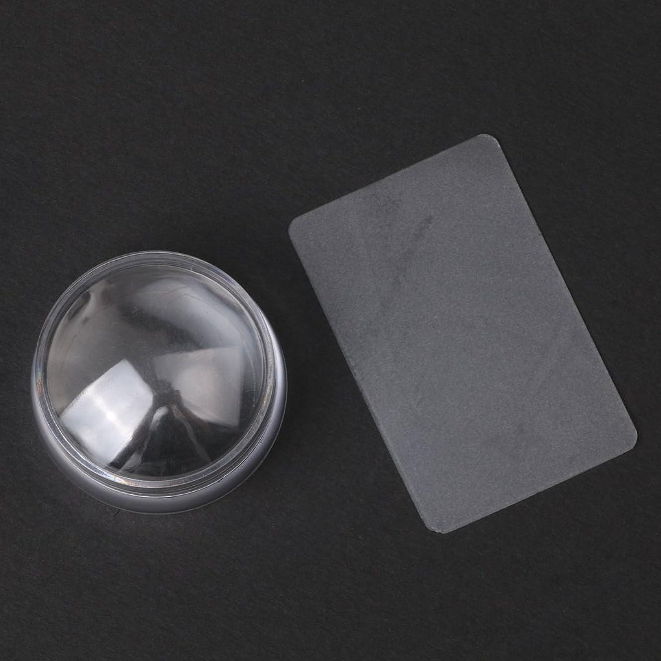 フロー責任者再発するCUTICATE 2个ネイルアートスタンプスタンパ掻きスクレーパーツールは透明に設定します