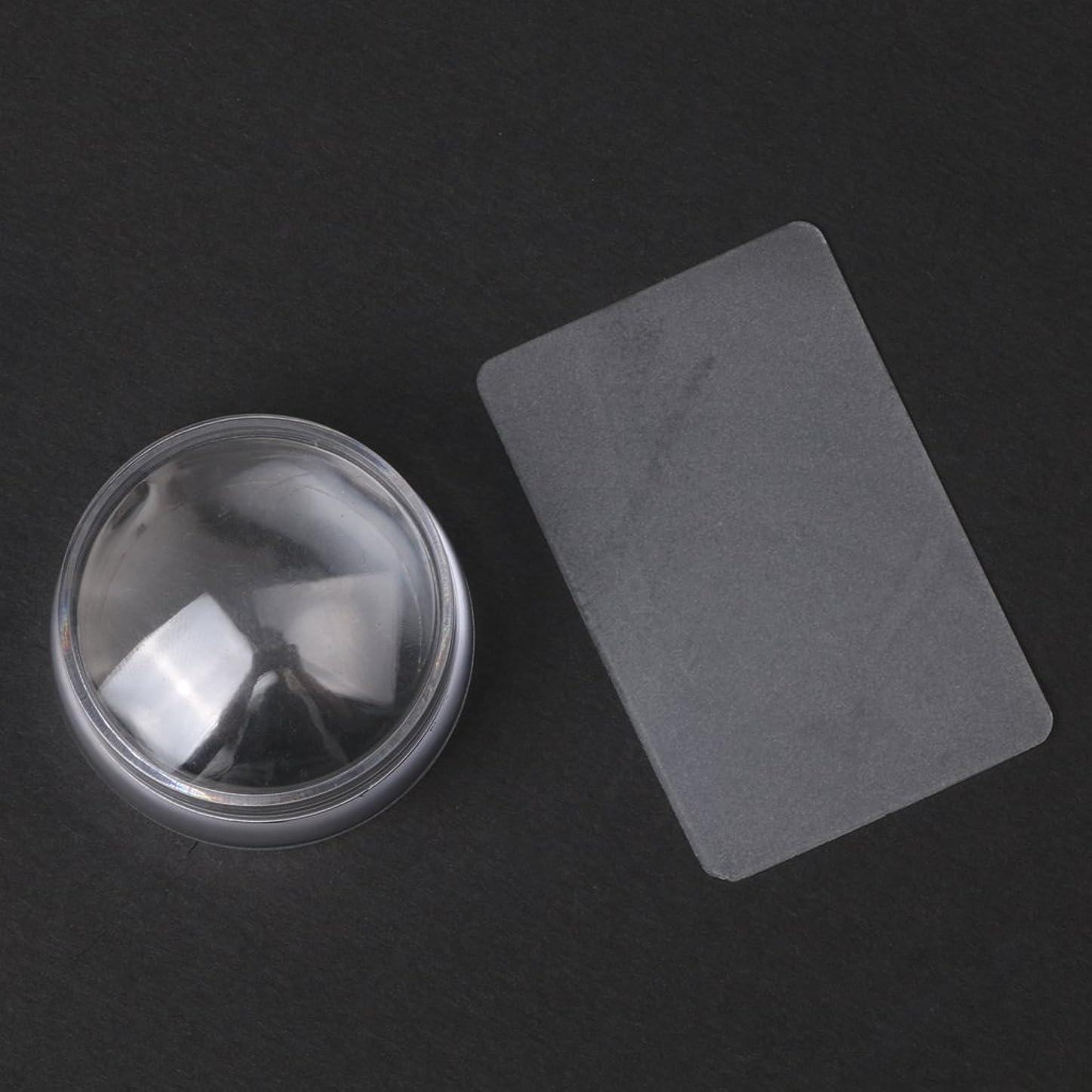 酸素引き算幻滅CUTICATE 2个ネイルアートスタンプスタンパ掻きスクレーパーツールは透明に設定します