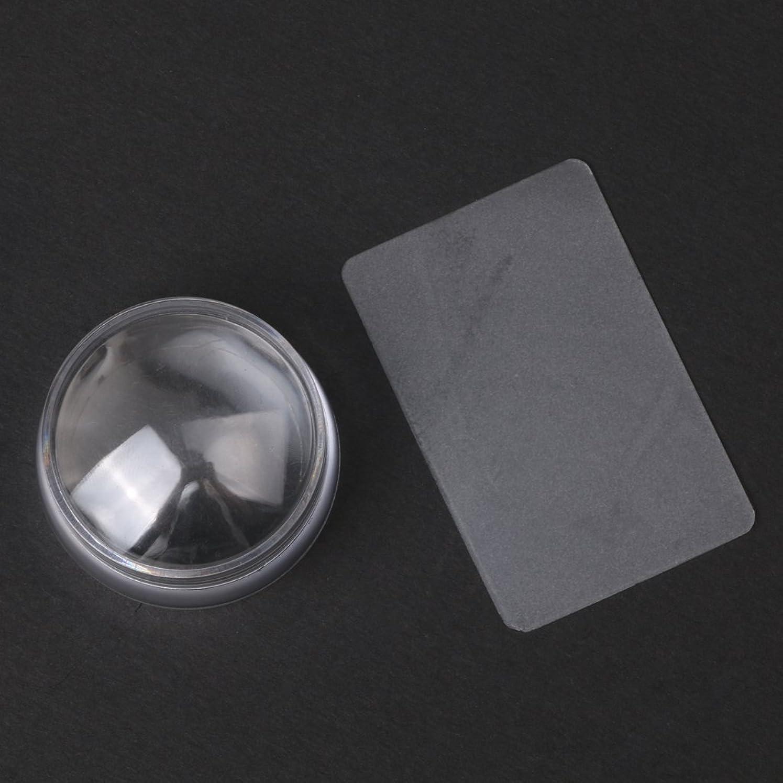 絶対にピラミッドアレルギー性CUTICATE 2个ネイルアートスタンプスタンパ掻きスクレーパーツールは透明に設定します