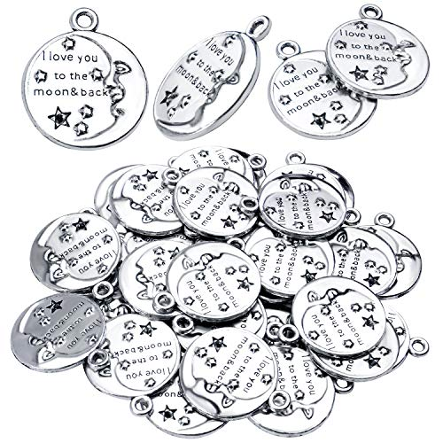 Inspirational Words Charms, 30pcs Lettering Saying Pendants (I LOVE YOU TO THE MOON&BACK) Charms Beads Jewelry Findings for DIY Necklace Bracelet