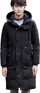 Lisa Pulster メンズ ロング ダウンコート 秋 冬 長袖 無地 上品 フード付き ゆったり 軽量 厚手 ダウンジャケット 柔らかい 上着 防風 防寒
