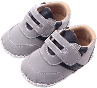 Lidiano Baby Boy Toddler Dull Polish Non Slip Rubber Sole Sneakers 0-18 Months (12-18 Months, Grey)