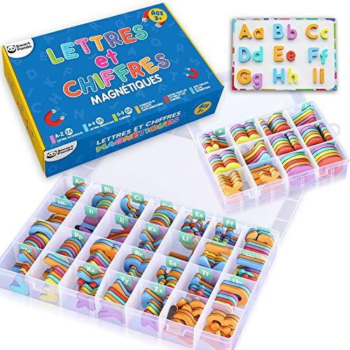 Lettres et Chiffres Magnétiques pour Enfants – Coffret Complet : 182 lettres, 81 Numéros et Symboles – Aimants pour Enfants – Deux Boîtes, un Tableau Magnétique, des Marqueurs et une Brosse