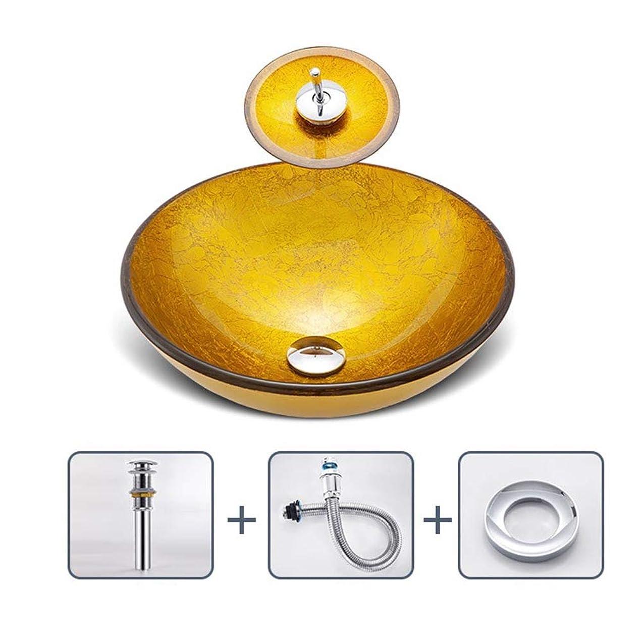 修復下手メダリスト洗面台 浴室上記カウンター容器バニティシンクボウルでオイルラバーブロンズの蛇口、ポップアップドレイン 洗面ボール (Color : Gold, Size : 42x42x14.5cm)