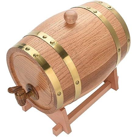 EBTOOLS Barril de Vino de Madera 3 litros, Barril Roble Pequeño con Soporte Recipiente para Almacenaje Vins