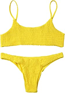 Women's Sexy Bathing Suit Solid Color Halter Shirred Bikini Swimsuit