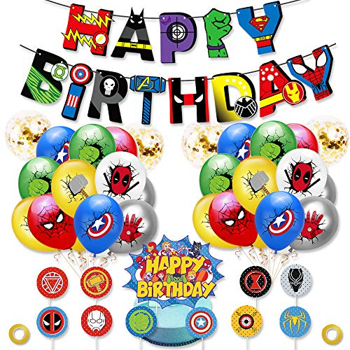 Birthday Party Supplies Set for Kids, Superhero Theme Decorations Kits Include Birthday Banner, Balloons, Cupcake Toppers, Gold Flat Ribbon