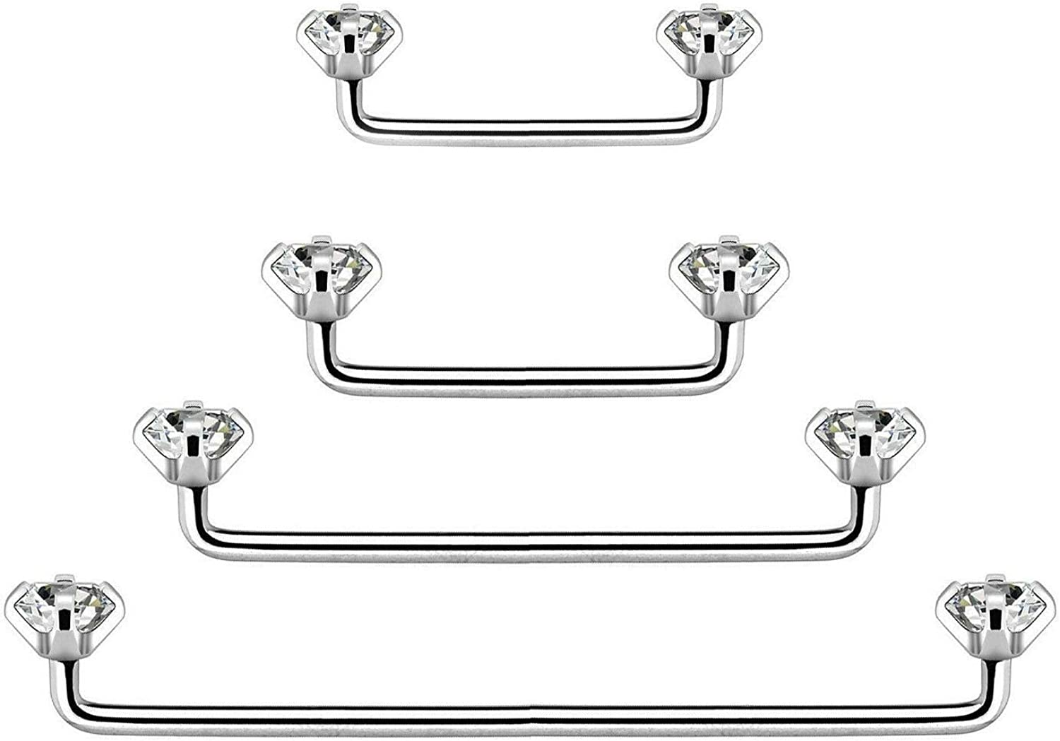BodyJewelryOnline Staple Surface Barbell with Internally Threaded Prong Set Clear Gem Surgical Steel 14G