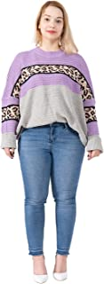 Women's Plus Size Crew Neck Leopard Sweater Tops