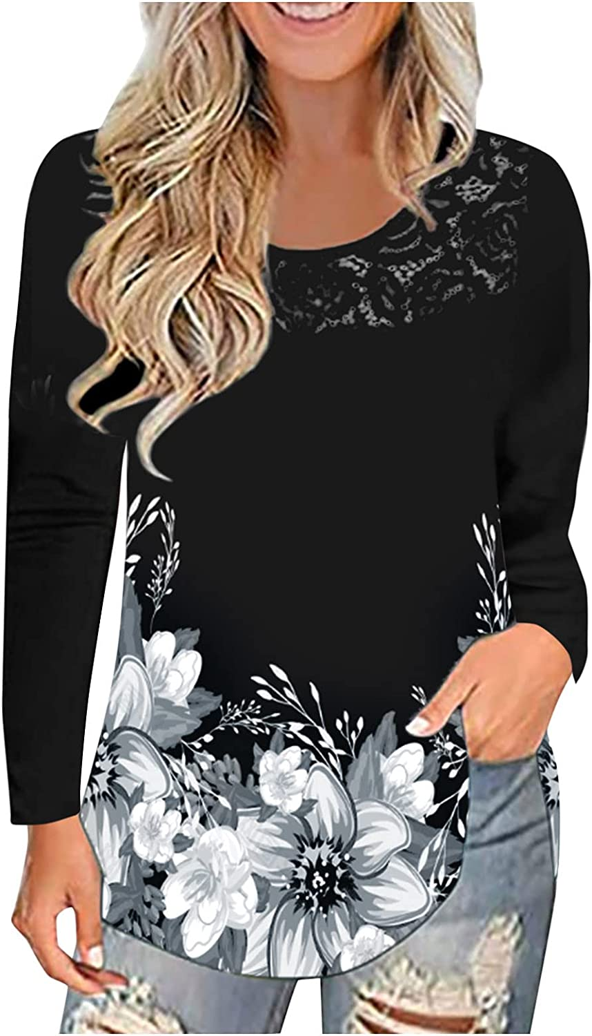 Flowy Shirts for Womens Casual Tunic Tops Scoop Neck Lace Trim Long Sleeve Pleated Front Tshirts Blouse Pullovers