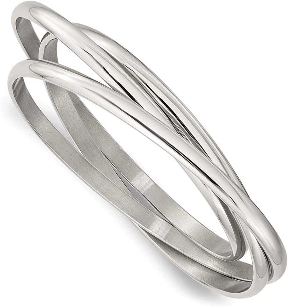 ICE CARATS Stainless Steel Intertwined Bangles Bracelet Cuff Exp