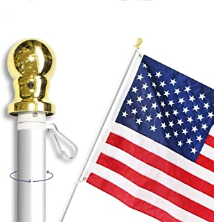 Anley 6 Feet No Tangle Spinning Flagpole, Aluminum Spinning Wall Mount Flag Pole – Heavy Duty, Weather Resistant & Rust Free – Silver