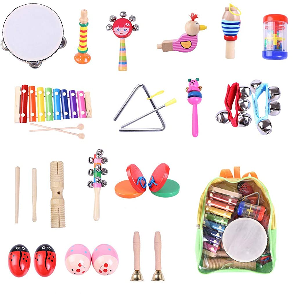 Lcyus Toddler Musical Percussion Instruments Toys Set for Kids, 24Pcs Educational & Musical Percussion Instruments Set Promote Early Education (Multicolor)