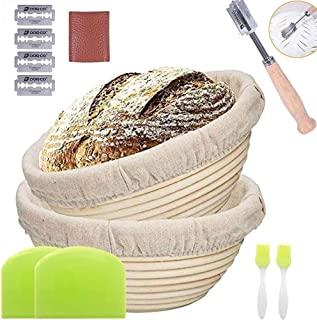 9 Inch Bread Proofing Basket Set 2 Pack Banneton Baking Proofed Kit With Dough 2 Scraper, 2 Washable Linen Cloth And Bread...