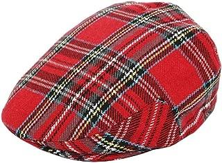 G & H Scottish Tartan Woolimix Flat Cap - Red - 6 Sizes