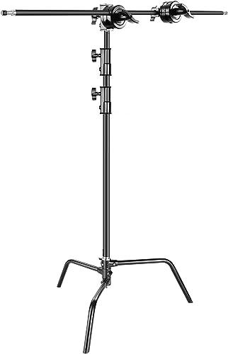 Neewer Foto Studio Schwerlast 3 Meter verstellbarer C-Stand, 1 Meter Haltearm, 2 Stück Griffkopf für Video Reflektor Monolight und andere fotografie Ger Schwarz