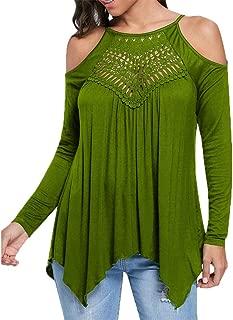 Sunhusing Women's Stitching Off-Shoulder Long-Sleeve T-Shirt Casual O-Neck Slim Fit Top Shirt