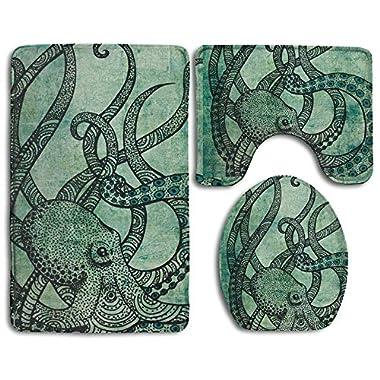 3 Pcs/set Bathroom Non-Slip Vintage Octopus Set Flannel Lid Bath Mat, Contour & Seat Cover Absorbent Bathroom Mat Set With Lantax Backing