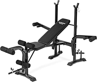 Aoxun Adjustable Olympic Workout Bench - Olympic Bench with Weight Rack, Squat Rack and Leg Extension, Strength Training E...