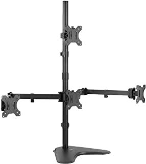 VIVO Quad 13 to 24 inch LCD Monitor Mount, Freestanding Desk Stand, 3 Plus 1 Articulating Display, Holds 4 Screens, VESA u...