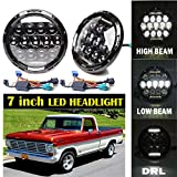 7 Inch 18000lms H6024 LED Headlight Replacement for Ford F100 Truck 1971 to 1979, Plug and Play with White DRL High Low and Beam Conversion Kit 2PCS