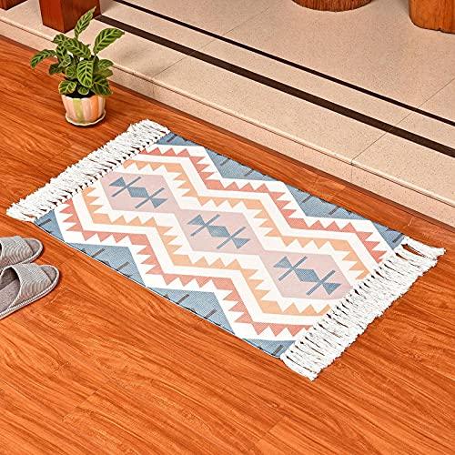 LFCFE Tral de algodón Bohemio Tasseles de impresión Tejidos de Nudo de Punta Manual Alfombrillas de almarta Alfombrillas de la Puerta Mats de la casa de la Sala de Estar A-60 * 90cm