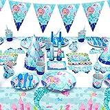 Himeland 90x Meerjungfrau Gebutstagparty Set Das knallbunte Party Set für eine Geburtstagsfeier Cupcake Und Cake Toppers Tischdecke Partytüten Einladungskarten für Kindergeburtstag Baby Shower - 2