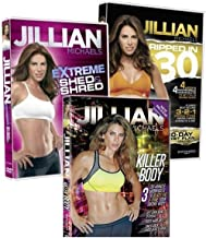 3 Pack Jillian Michaels Fitness DVD's Killer Body Extreme Shed And Shred Ripped In 30