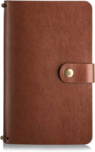 Pennline Quikrite Classic Premium Faux Leather Travel Journal with Replaceable Plain and Lined Quikfill Notebook - Brown