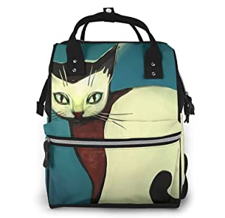 Risating Mummy Backpack - Cat Painting Luier Tote Bag Multifunctionele Waterdichte Twill Canvas voor Mom Dad