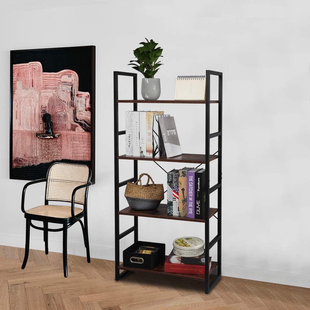 Surprise price MTFY 4-Tier Ladder Shelf Industrial Fresno Mall Storage Rack Bookshelf Shelv