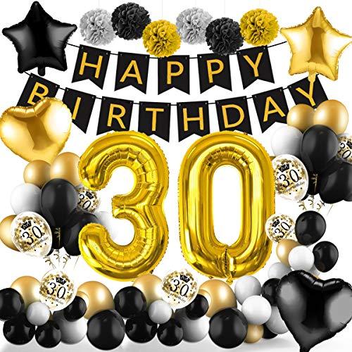 Amteker 30 Geburtstag Deko Schwarzes Gold – 39 Stück Geburtstag Deko, Happy Birthday Banner, Konfetti Luftballons, Riesen Zahl Folienballons, 30. Geburtstag Dekoration für Mädchen und Jungen