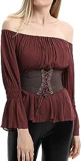 Women's Gothic Renaissance Peasant Long Sleeve Blouse Top Elastic Waist