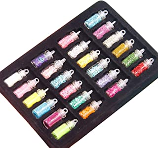 24 Botellas Chunky Glitter coneti Lentejuelas Cuentas para DIY Slime Crafts Suministros Nail Art Decoraciones Estilo Aleat...