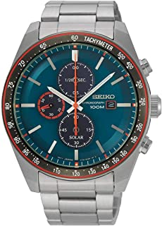 Seiko Men`s 43.2mm Steel Bracelet & Case Hardlex Crystal Solar Blue Dial Analog Watch SSC717P1