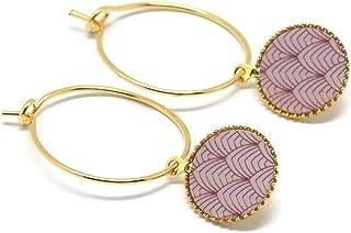 Mini orecchini cerchio Giappone malva oro rosa cipria ottone dorato oro 24K resina regali di Natale amici cerimonia di com...