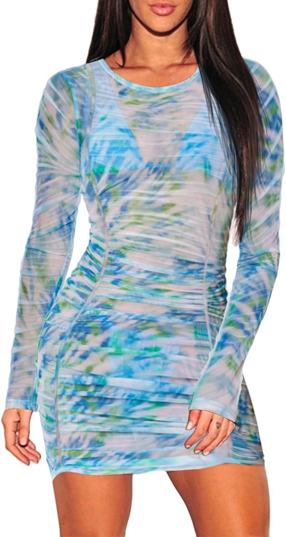 COCOLEGGINGS Women's Sheer Mesh Long Sleeve Beach Cover Up Dress