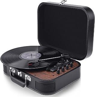 レコードプレーヤー スピーカー内蔵 スーツケース型 33/45/78回転対応 MP3録音 3.5mm ヘッドホン RCA音声出力端子 ビニール台付き 天然木制 ブラック