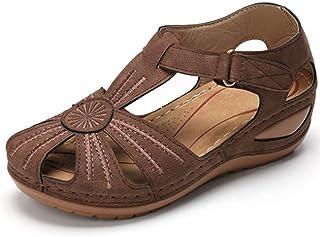 女士坡跟高跟凉鞋/花朵拼接休闲拖鞋/PU橡胶制成/舒适的圆头可调节钩,ブラウン,37