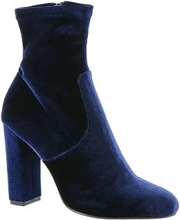 Steve Madden Women's Edit Navy VelvetHigh Heel Zip Bootie - 7 B(M) US