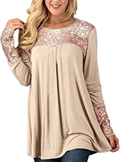 Womens Tops, Womens Sparkle & Shine Glitter Sequin Embellished Long Sleeve O-Neck Top