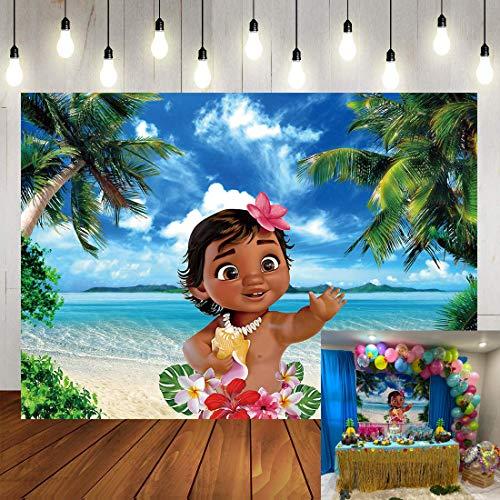 BINQOO 2,1 x 1,5 m - Toile de fond pour photographie de bébé Vaiana d'été océan tropicale bord de mer île tropicale palmiers - Toile de fond pour photographie de fille, fête prénatale