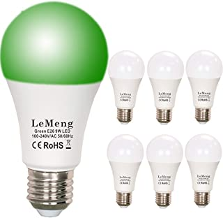 LeMeng Green LED Light Bulbs 9W A19 (60W 75Watt Equivalent), E26 Medium Base Porch Light 120V for Hallway Holiday Party Decoration, Non Dimmable- 6 Pack