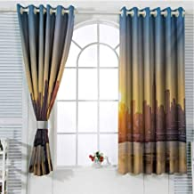 FreeKite City Living Room Curtains 2 Panel Sets Tranquil Sunrise at Midtown Manhattan United States NYC Waterfront America Home Decor Blackout Curtains W107 x L84 Inch Pale Blue Peach Tan
