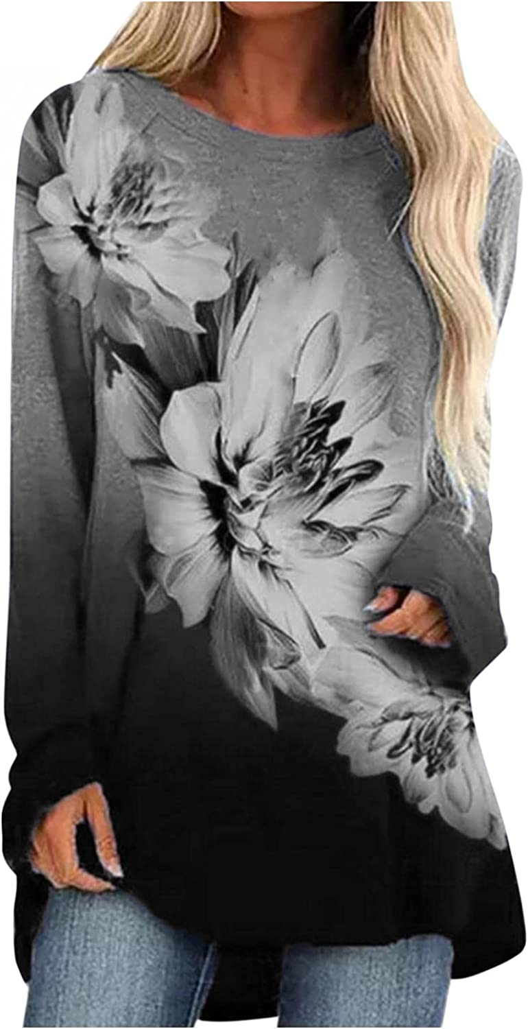 Hotkey Tunic Tops for Women to Wear with Leggings, Womens Crewneck Long Sleeve Tops Floral Gradient Print Pullover Sweatshirt