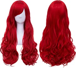 Long Red Hair Wig Curly Wavy Cosplay Party Wigs for Women Heat Resistant Harajuku Lolita Costume Wigs with Bangs BU138R